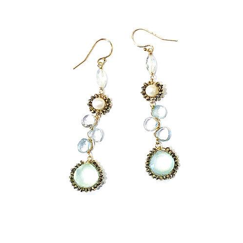 Long Caviar Gem Cluster Earrings