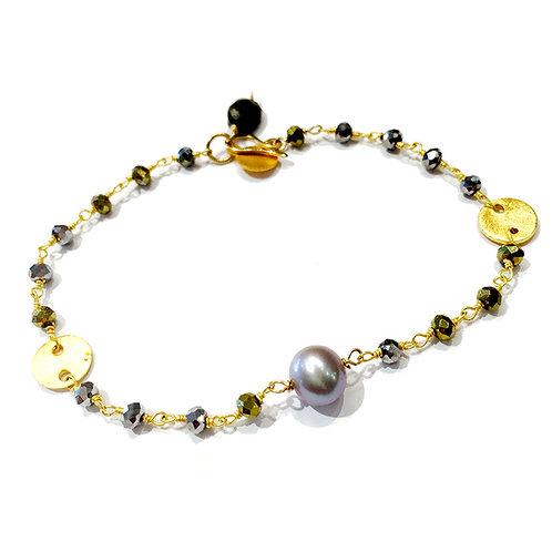 Gem Chain w Pearl Bracelet
