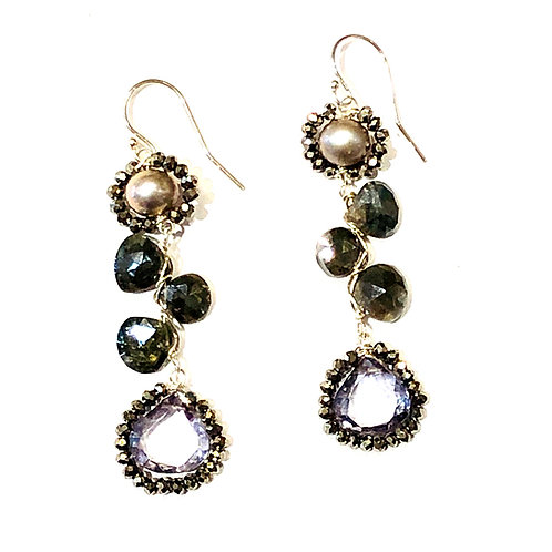 Caviar Gem Cluster Earrings