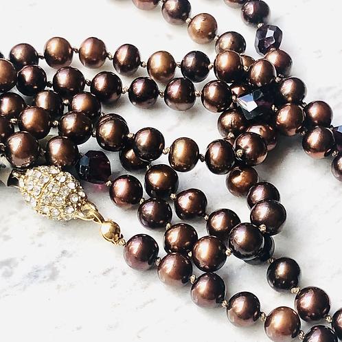 Dark Chocolate Pearls w gem accents
