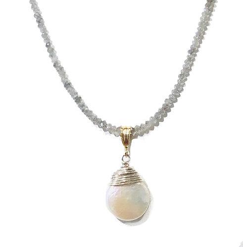 Grey Diamond w Pearl Pendant