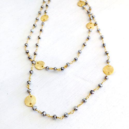 Long Gem Chain Disc Necklace