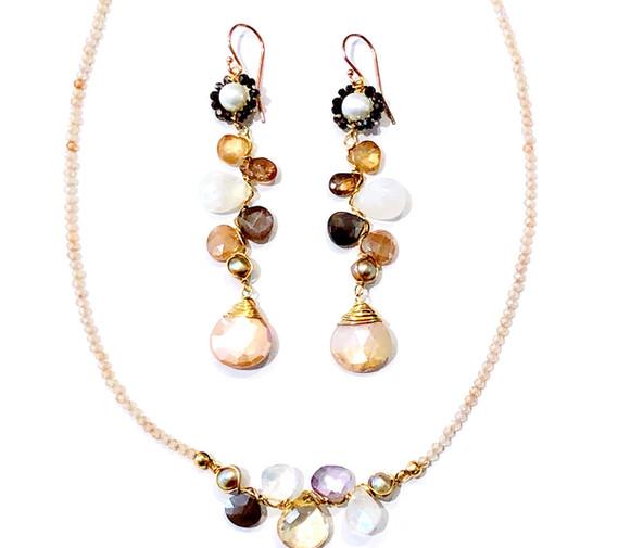 Gem Cluster necklace & earrings