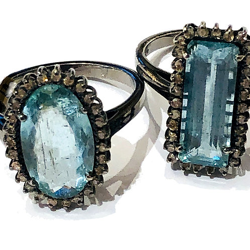 Aquamarine Ring with Pave Diamond Halo