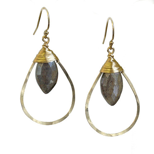 Teardrop Wired Gem Earrings