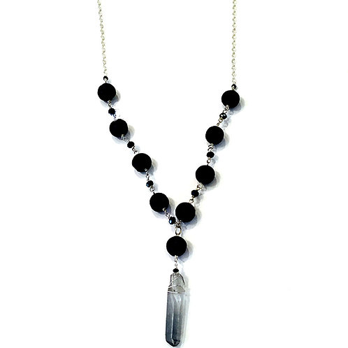 Lava and Crystal Wand Necklace
