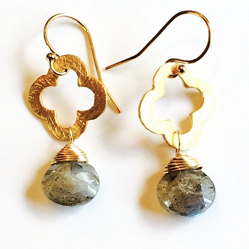 Clover Gem Drop Earrings