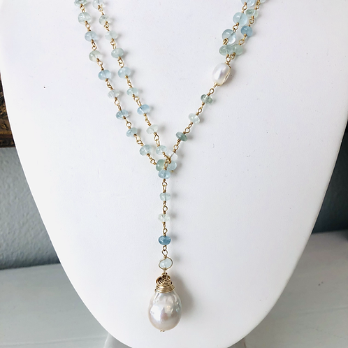 Gem chain Y Necklace & Lariat with Baroque Pearl