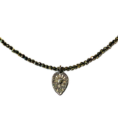 Diamond Accent Leaf Beaded Choker