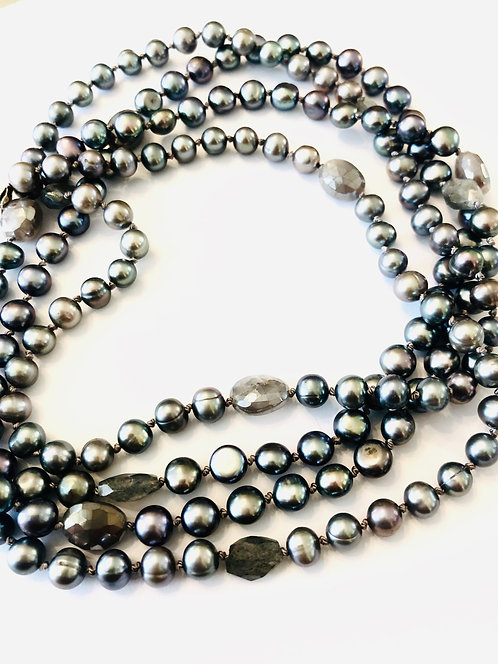 Grey Pearls w gem accents