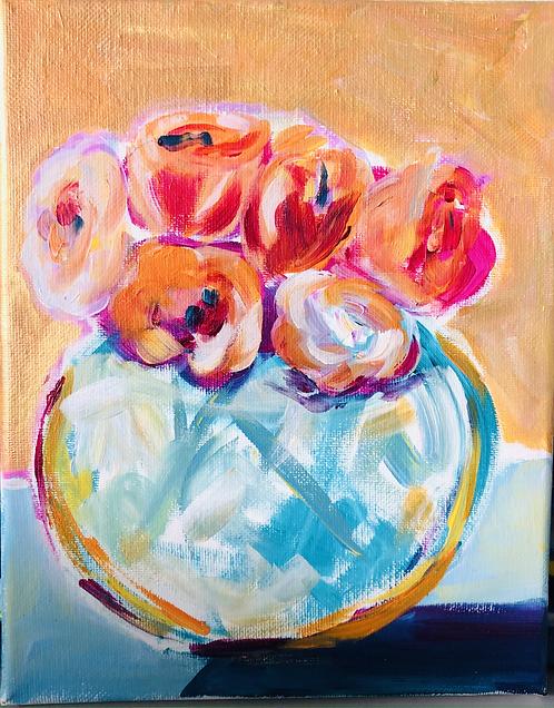 Roses in Globe Vase