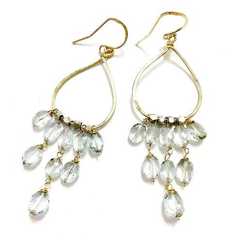 14k Teardrop Gem Chandelier Earrings
