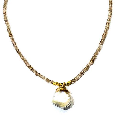 Zircon Choker w Tahitian Pearl Pendant