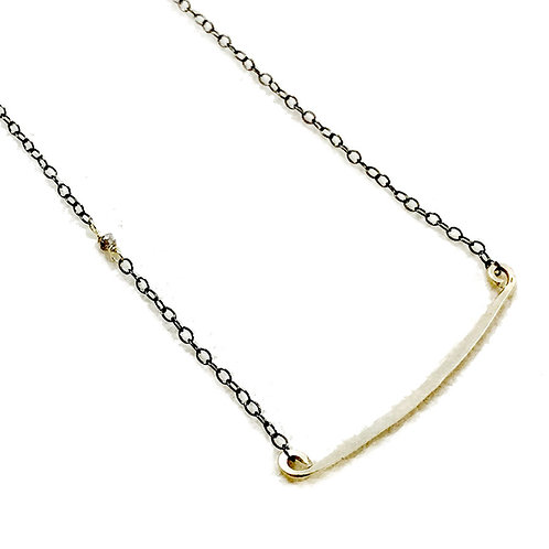 14k Gold Bar Necklace w Diamond Accent