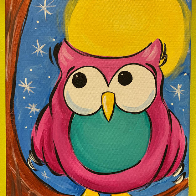 Owl with Moon Canvas