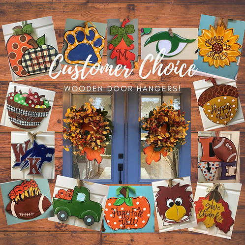 Thursday, September 2, 6:30-8:30pm Customer Choice Wooden Door Hangers