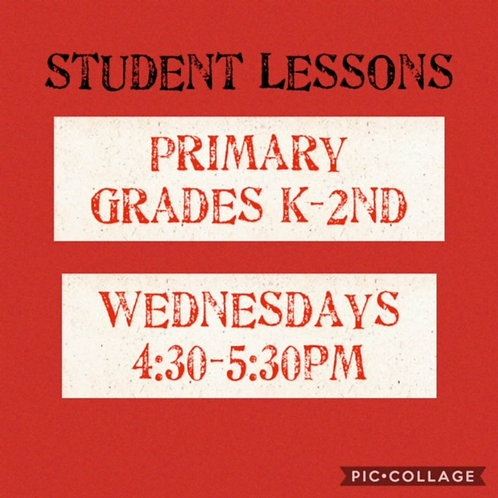 Primary Grades K-2 Small Group Art Lessons, Wednesdays 4:30-5:30pm