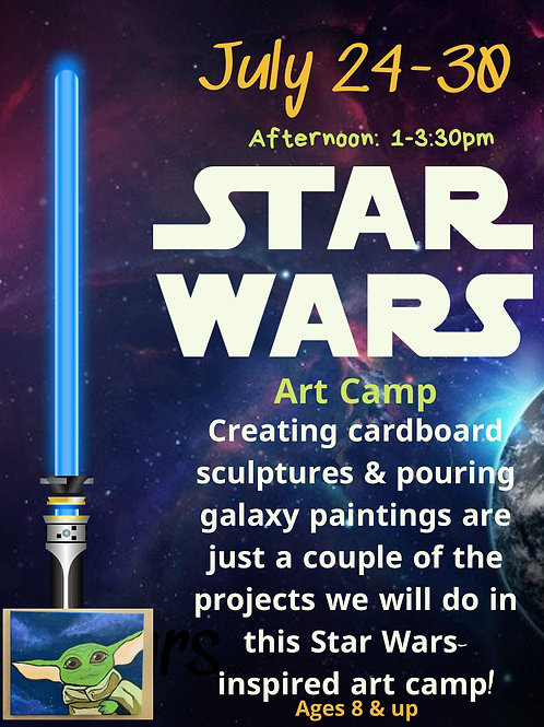 July 26-30, Star Wars Art Camp, Afternoon 1-3:30pm