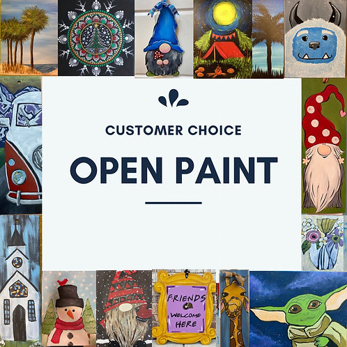 February 20, Saturday, Open Paint, 10am-2pm