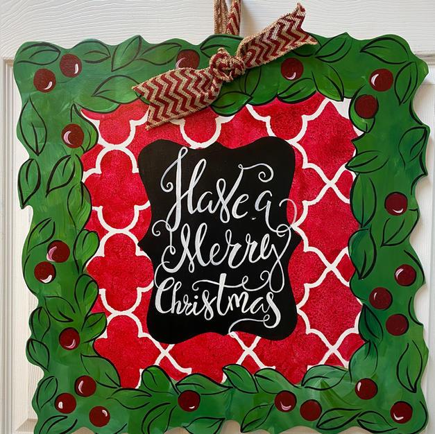 #20 Square Wreath Christmas Wood Cutout