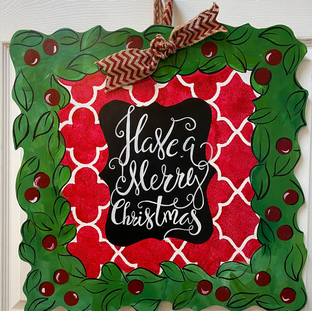 #20 Square Wreath Christmas Wood Cutout