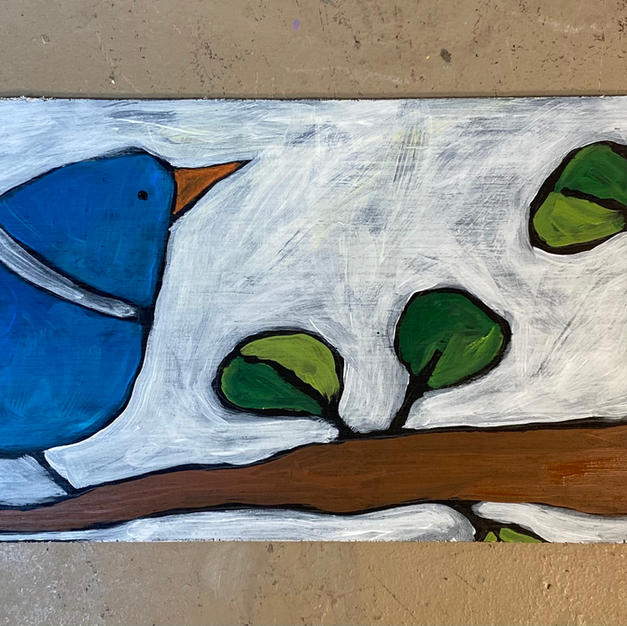 Blue Bird on Branch Skinny Board
