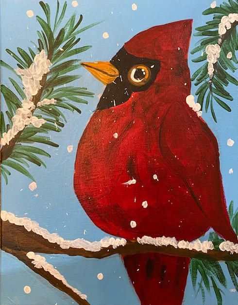 Snowy Cardinal on Branch Canvas