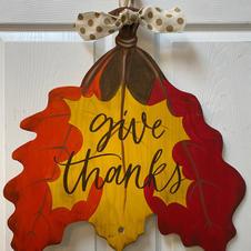 3-Leaf Give Thanks Wood Cutout