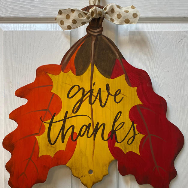 3-Leaf Give Thanks Wood Cutout
