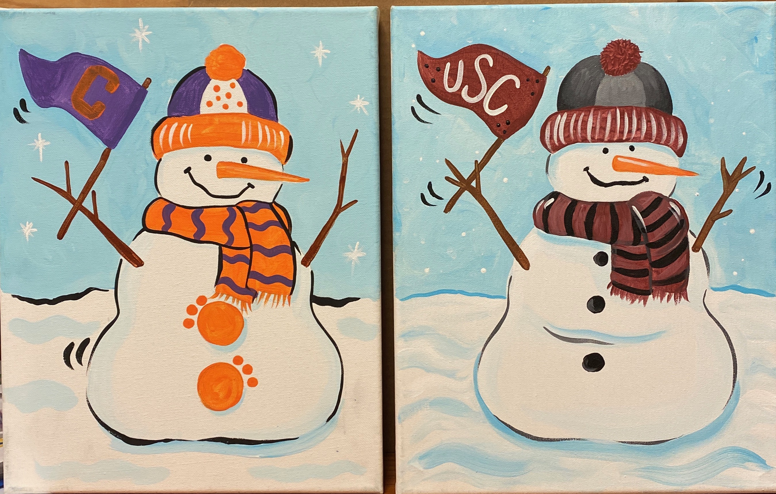 Fan Snowmen Canvas