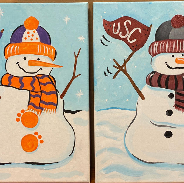 School Spirit Snowman Canvases