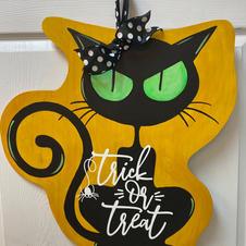Trick or Treat Black Cat Wood Cutout