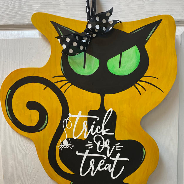 Trick or Treat Black Cat Wood Cutout