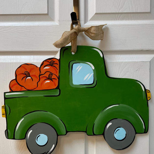 Truck with Pumpkins Wood Cutout