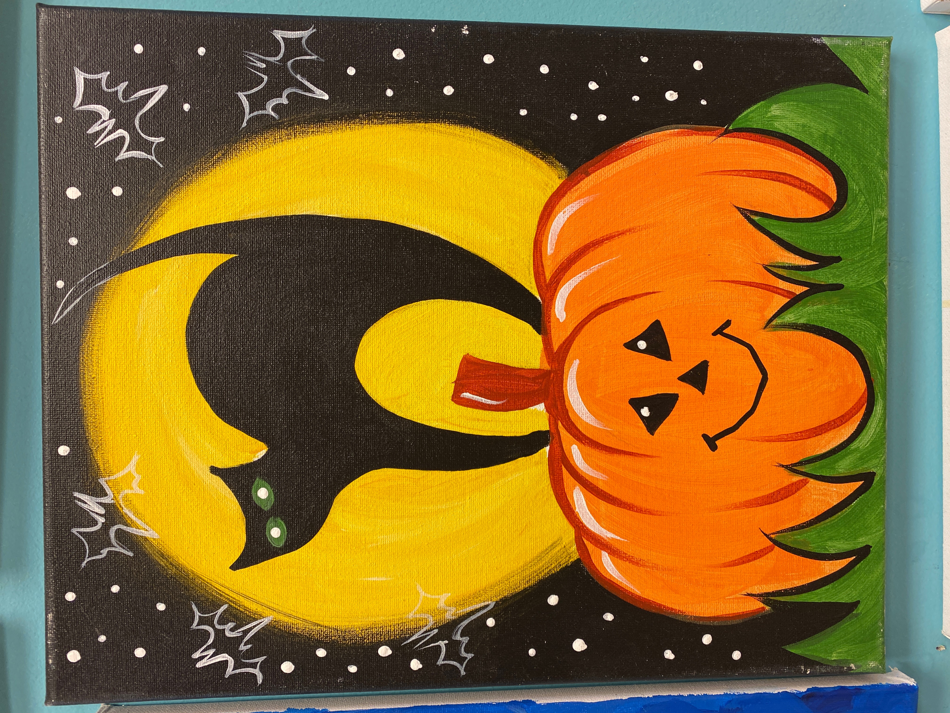 Cat and Pumpkin Canvas