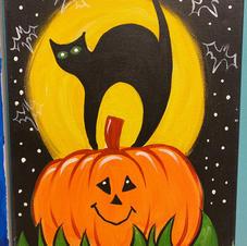 Cat with Pumpkin Canvas