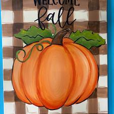 Pumpkin with Plaid Background Canvas