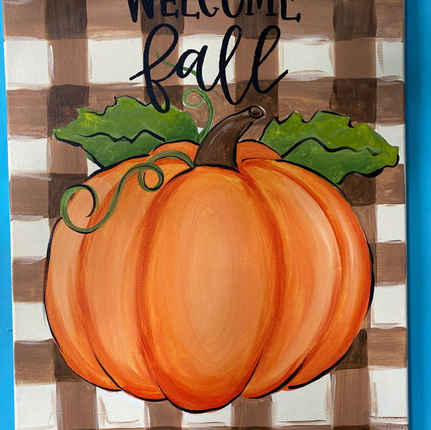 Pumpkin with Plaid Background Canvas
