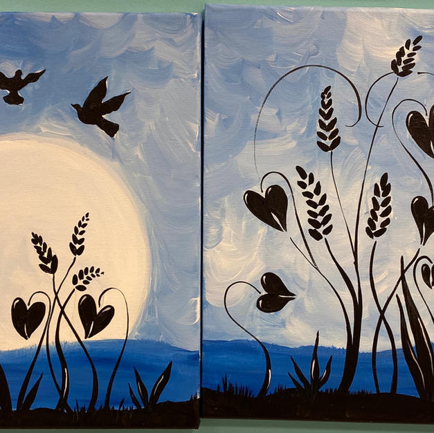 Blue Marsh with Birds Date Night Canvases