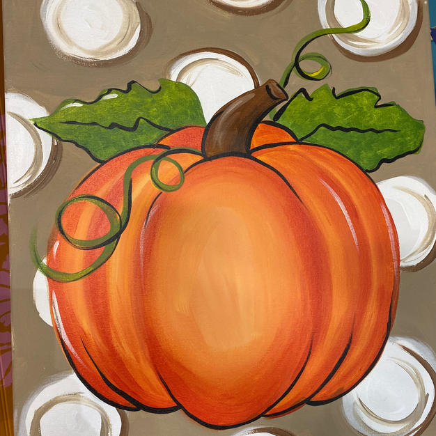 Pumpkin with Polk-a-Dots Canvas
