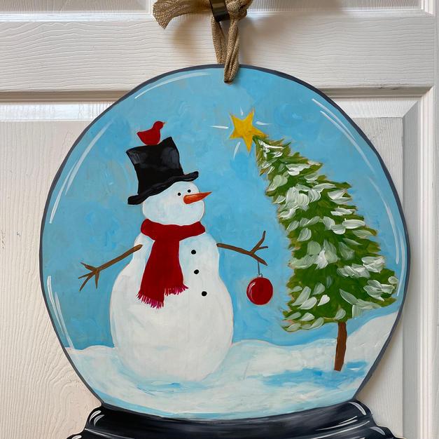 #152 Snowman Snow Globe Wood Cutout