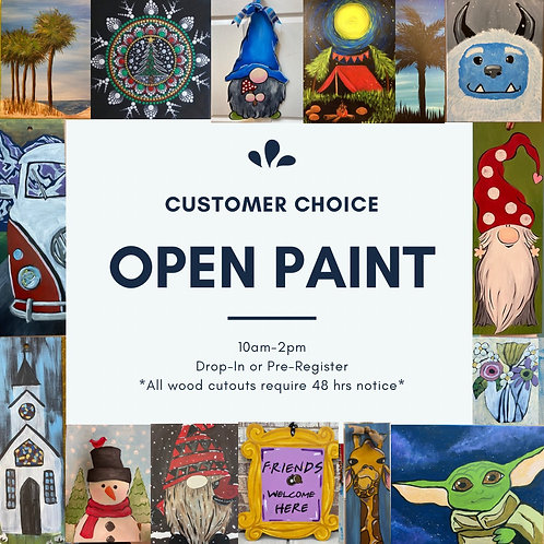 January 9, Saturday ,Open Paint, 10am-2pm