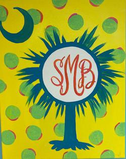Monogram Palmetto Tree Canvas