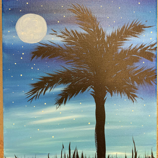 Palmetto with moon