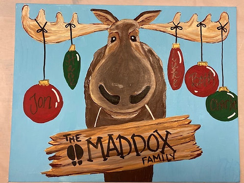 November 6, Friday, 6pm Moose with Ornaments Canvas Painting