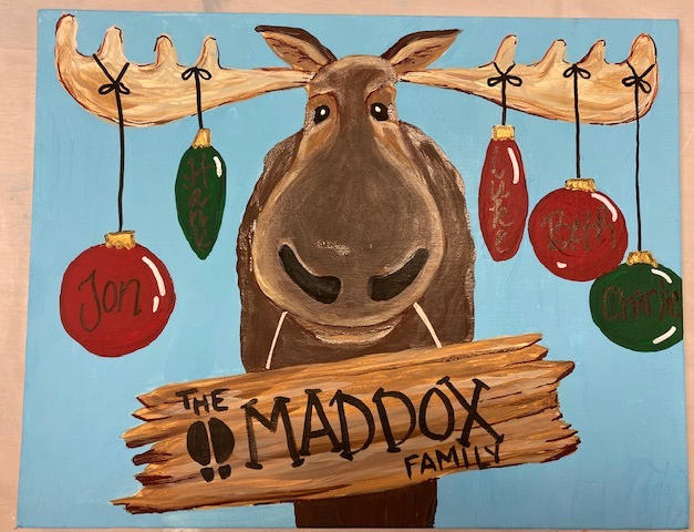 Moose with Ornaments Canvas
