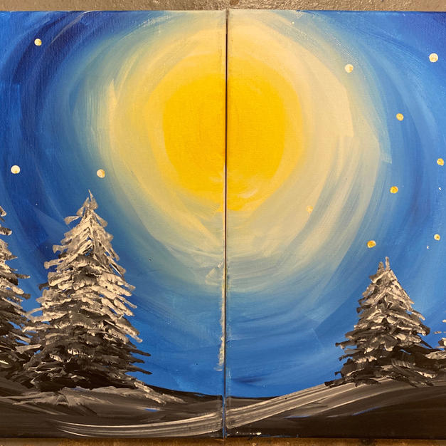 Snowy Trees in Moonlight Date Night Canvases