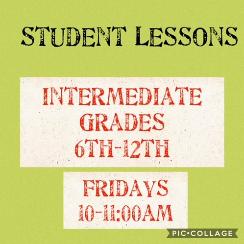 Intermediate Small Group Art Lessons Fridays 10-11am