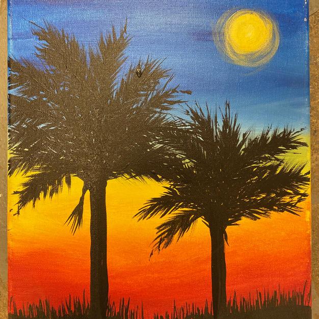 Double Palmetto Sunset Canvas