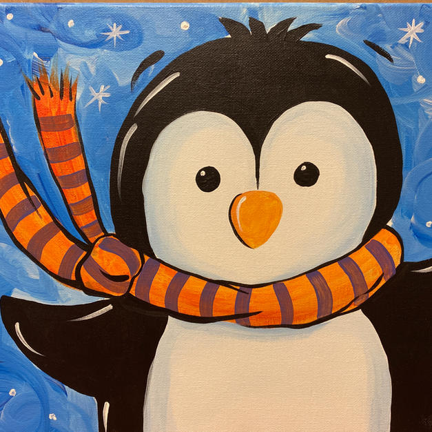 Snowy Penguin Canvas